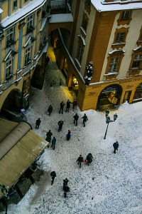 Winter from Top of the Old Clock Tower, Old Town Square (Staroměstské Naměsti), Prague