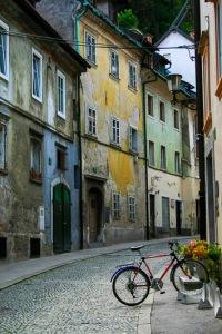 Bike in Ljubljana Street, Ljubljana, Slovenia