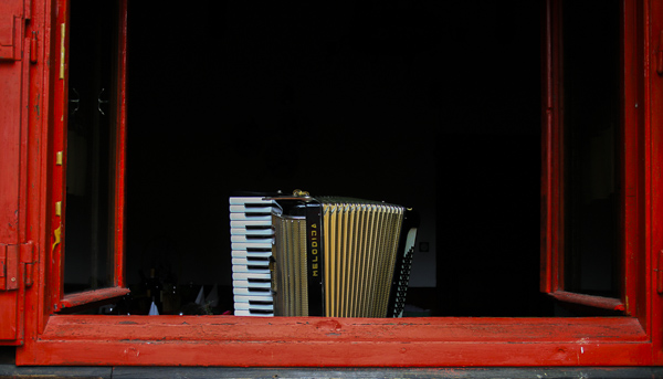 Accordion in a Cafe Window, Lake Bled, Slovenia