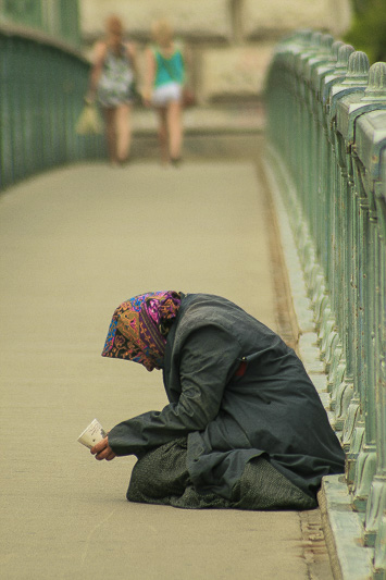 Beggar Woman and Tourists, Budapest, Hungary