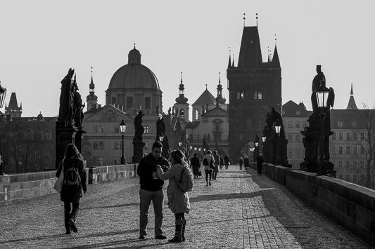 Charles Bridge Early Morning Street Scene, Prague