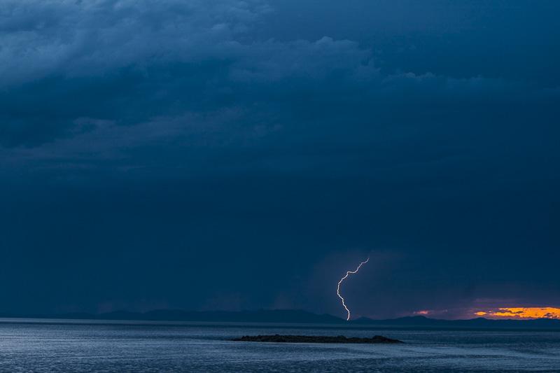 Lightning Over the Great Salt Lake, Antelope Island, Utah